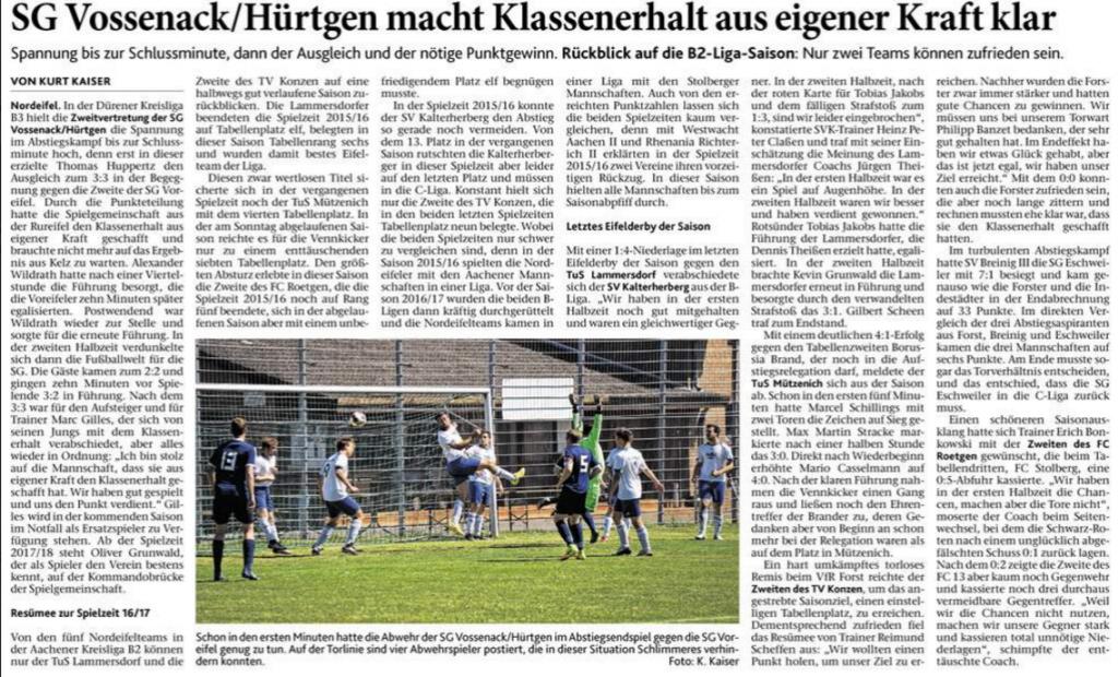 Kurt Kaiser in den Eifeler Nachrichten  vom 13.6.2017