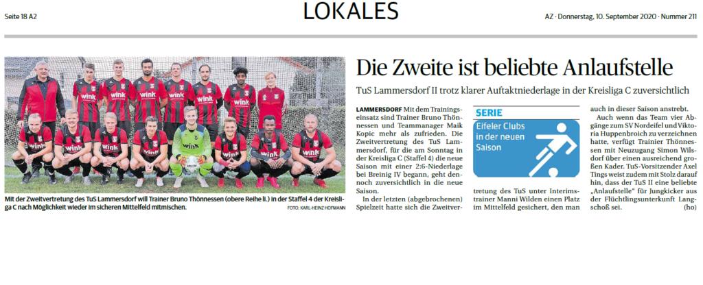Aachener Zeitung vom 10.09.2020